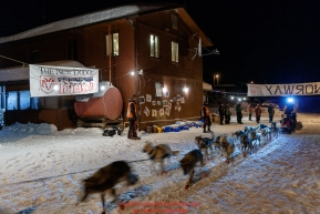 Linwood Fiedler leaves the Takotna checkpoint after their 24-hour layover on Thursday, March 8th during the 2018 Iditarod Sled Dog Race -- AlaskaPhoto by Jeff Schultz/SchultzPhoto.com  (C) 2018  ALL RIGHTS RESERVED