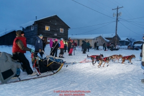 Nicolas Petit arrives in first place at the Kaltag village checkpoint on Saturday evening, March 10th during the 2018 Iditarod Sled Dog Race -- AlaskaPhoto by Jeff Schultz/SchultzPhoto.com  (C) 2018  ALL RIGHTS RESERVED