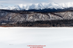 A dog team is but a small speck as they travel on the Yukon River between Grayling and Eagle Island on Saturday, March 10th during the 2018 Iditarod Sled Dog Race -- AlaskaPhoto by Jeff Schultz/SchultzPhoto.com  (C) 2018  ALL RIGHTS RESERVED