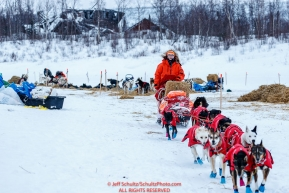 Meredith Mapes leaves the ghost-town checkpoint of Iditarod on Saturday, March 10th during the 2018 Iditarod Sled Dog Race -- AlaskaPhoto by Jeff Schultz/SchultzPhoto.com  (C) 2018  ALL RIGHTS RESERVED