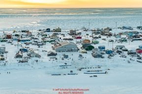 Teams rest on the slough at the Unalakleet checkpoint on Sunday evening March 11th during the 2018 Iditarod Sled Dog Race -- AlaskaPhoto by Jeff Schultz/SchultzPhoto.com  (C) 2018  ALL RIGHTS RESERVED