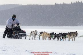 Rick Cassillo runs on the Yukon River as he nears the Kaltag village checkpoint on Sunday afternoon March 11th during the 2018 Iditarod Sled Dog Race -- AlaskaPhoto by Jeff Schultz/SchultzPhoto.com  (C) 2018  ALL RIGHTS RESERVED